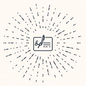 Grey Signed Document Line Icon Isolated On Beige Background. Pen Signing A Contract With Signature.  poster