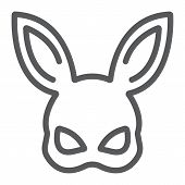Sex Rabbit Mask Line Icon, Sex Toy And Adult, Bdsm Mask Sign, Vector Graphics, A Linear Pattern On A poster