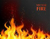 Orange And Realistic Fire Flame Background With Open Flame On Black Fond Vector Illustration poster