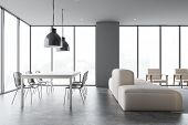 Gray Dining Room And Living Room With Sofa poster