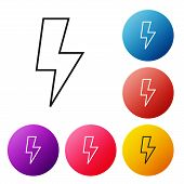 Black Line Lightning Bolt Icon Isolated On White Background. Flash Sign. Charge Flash Icon. Thunder  poster