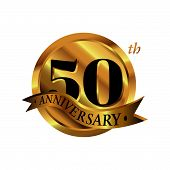 50th Anniversary Vector Logo Illustration. 50 Years Golden Anniversary Celebration Logotype With Num poster