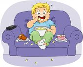 stock photo of couch potato  - Illustration of an Overweight Boy - JPG