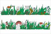 Two Panoramic Elongated Vector Freehand Drawings With Grassy Vegetation And Symbolic Insects And Amp poster