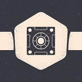 Grunge Safe Icon Isolated On Grey Background. The Door Safe A Bank Vault With A Combination Lock. Re poster