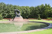 stock photo of chopin  - Monument of Chopin - Warsaw, Poland. Monument in public park.