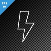 White Line Lightning Bolt Icon Isolated On Transparent Dark Background. Flash Sign. Charge Flash Ico poster
