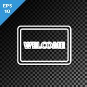 White Line Doormat With The Text Welcome Icon Isolated On Transparent Dark Background. Welcome Mat S poster
