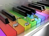 stock photo of queer  - The white piano with keys of different colours of a rainbow - JPG