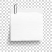 White Sheet Of Paper With Metal Paper Clip. Metal Paper Clip Attached To Paper. Vector Illustration. poster