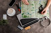 Top View Of Woman Near Map, Compass, Credit Cards And Gadgets, E-commerce Concept, E-commerce Concep poster