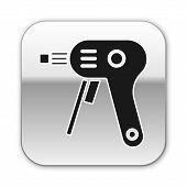 Black Electric Hot Glue Gun Icon Isolated On White Background. Hot Pistol Glue. Hot Repair Work Appl poster