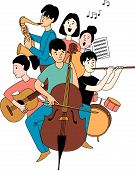 Music School Orchestra Concert Students Musical Instruments Doodles Line Poster poster