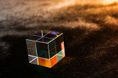 Optical Glass Cube Light Dispersion,spectrum. Physics Optics Ray Refractions poster