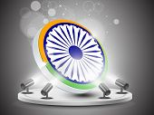 foto of ashok  - Illustration of abstract tricolor Indian flag Ashok wheel  on presentation stage with lights background for Republic Day and Independence Day and other occasions - JPG