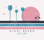 Miami Beach, Florida T-shirt Design With Flamingo And Palm Trees. Typography Graphics For T Shirt Wi poster