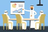Arab Businessman On The Office Meeting. Conference Room Interior Vector Illustration. Business Peopl poster