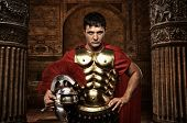 image of legion  - Roman soldier against antique building - JPG
