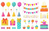 Birthday Decoration. Kids Party Design Elements, Confetti Balloons Cakes Colorful Paper Ribbons Cand poster