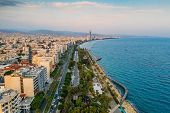Limassol Aerial View, Cyprus. Promenade Or Embankment With Alley, Palms And Buildings. Drone Photogr poster