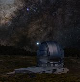 Astronomical Observatory Under The Bright Stars. Milky Way Galaxy On The Dark Sky. Tower And Silver  poster