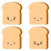 Cute Toasts Bread Kawaii Cartoon Styly Set Isolated On White Background. Vector Illustration Flat De poster