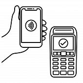 Vector Illustration Hand Of Customer Using Terminal For Wireless Or Contactless Payment With Smartph poster