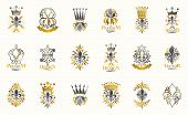 Classic Style De Lis And Crowns Emblems Big Set, Lily Flower Symbol Ancient Heraldic Awards And Labe poster