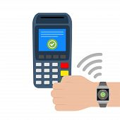 Vector Illustration Flat Design Concept Contactless Payments With Smart Watches. Contactless Payment poster