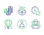 Post Package, Avatar And Air Balloon Line Icons Set. Timer, Coins And Group Signs. Postbox, User Pro poster