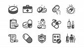 Medical Drugs Icons. Healthcare, Prescription And Pill Signs. Pharmacy Drugs, Recipe Pill Icons. Ant poster