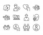 Set Of People Icons, Such As Person, Wash Hands, Hold Heart, Like, Woman Love, Engineer, Face Verifi poster