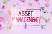 Handwriting Text Writing Asset Management. Concept Meaning Analysisaged Investment Of Assets Of A De poster