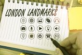 Handwriting Text Writing London Landmarks. Concept Meaning Most Iconic Landmarks And Mustsee London  poster