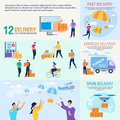 Express Delivery Service, Goods Shipment With Drones, Postal Parcels Delivery Company Trendy Flat Ve poster