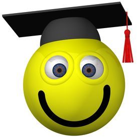 foto of smiley face  - Adorable smiley wearing a graduation cap isolated on white - JPG