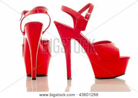 Red high heel women shoes on white background
