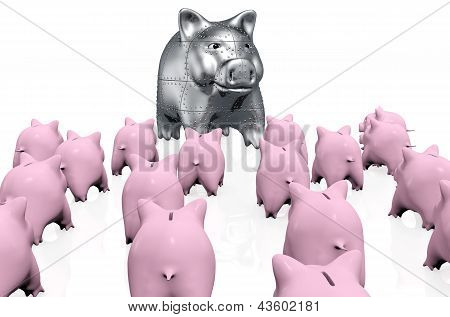 A Crowd Of Pink Piggy Banks Meet A Stranger