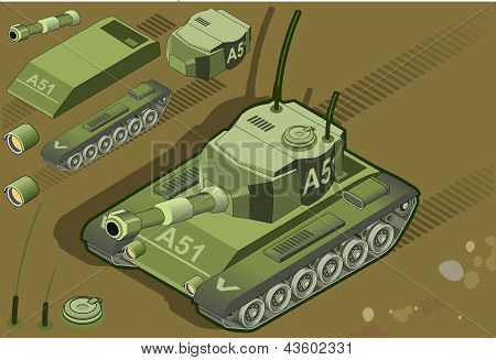 Isometric Tank In Two Position in front view