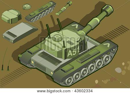 Isometric Tank In Rear View