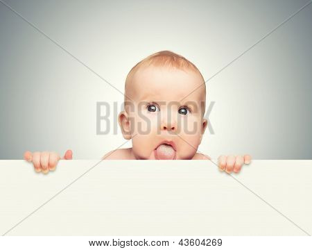 Funny Cute Baby With White Blank Banner