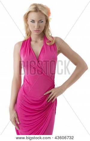 Pretty Blonde Girl With Pink Dress In Front Of The Camera