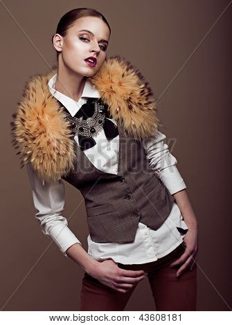 Charisma. Aristocratic Stylish Fashion Model In Modern Apparel. Elegance