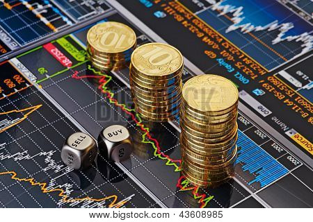 Dices Cubes With The Words Sell Buy, Downtrend Stacks Of Golden Coins. Financial Chart As Background