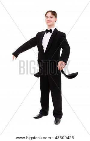 man dressed in a tailcoat posing