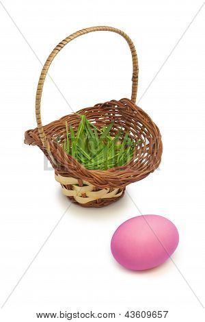Pink Easter Egg And Basket With Grass