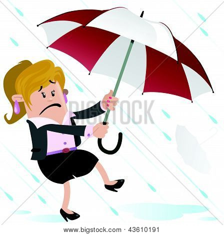 Businesswoman Buddy blown away with Umbrella