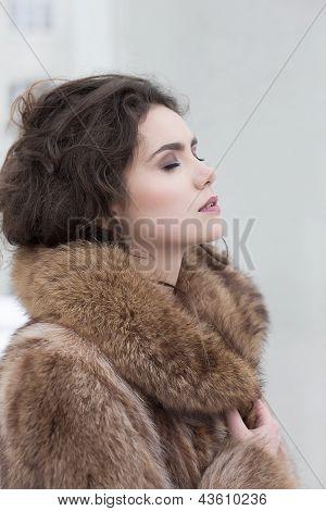 Love. Affectionate Dreamy Sensual Woman In Fur Coat In Reverie. Serene