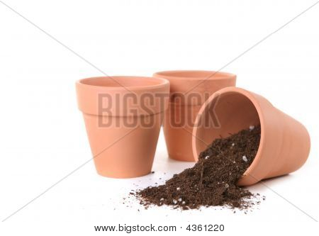 Clay Pots Waiting To Be Planted With Seeds