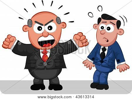 Business Cartoon - Boss Man Shouting At Frightened Employee